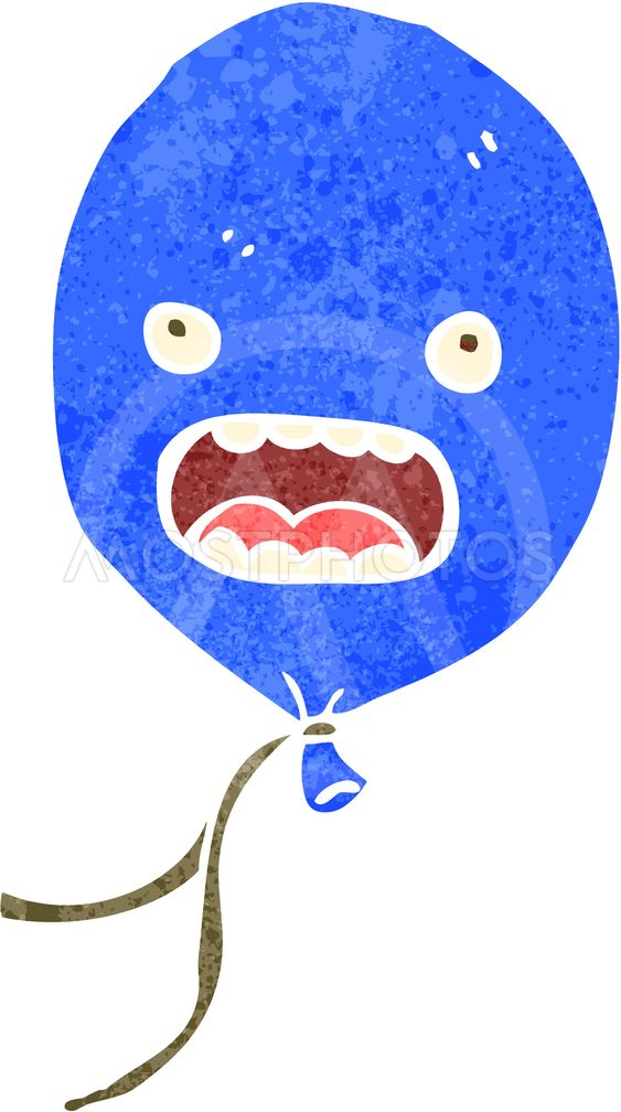retro cartoon blue balloon
