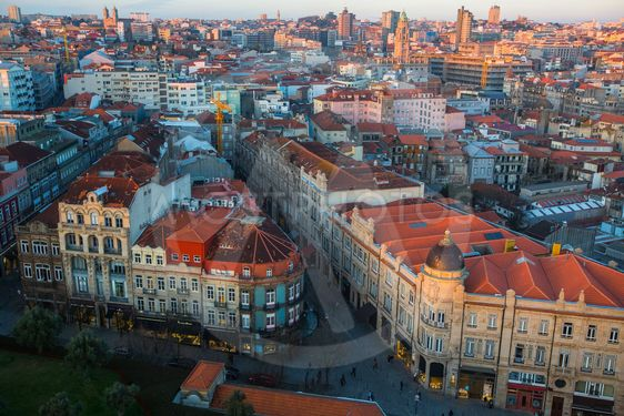 Top view of old Porto downtown at dusk, Portugal.