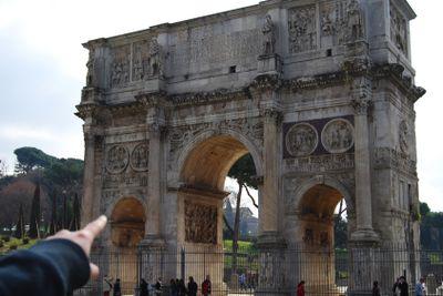 Arch of Constantine - Tourist indicates it