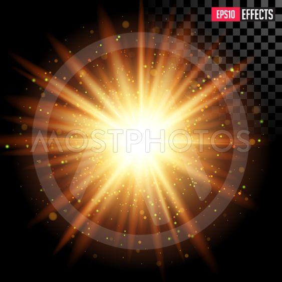 Star Burst with Sparkles. Vector Transparent Lens Flare...