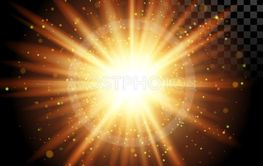 Star Burst with Sparkles. Vector Transparent Lens Flare...