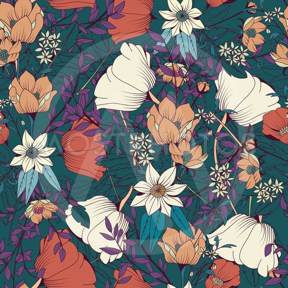 Seamless pattern design with hand drawn flowers and...