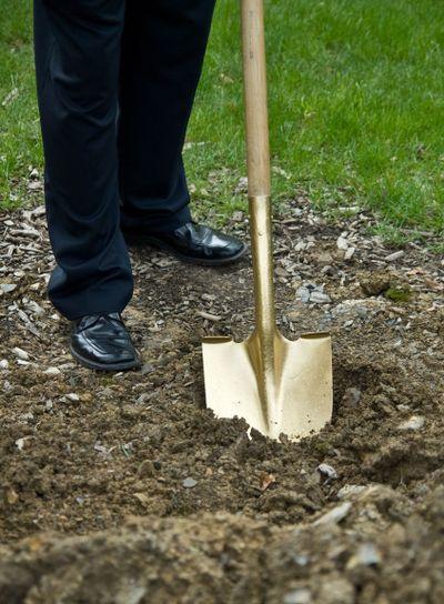 Gold shovel at groundbreaking