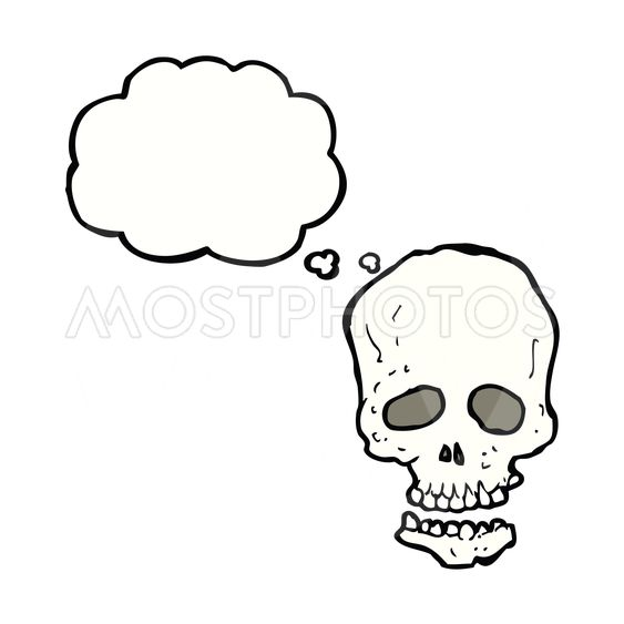cartoon skull with thought bubble