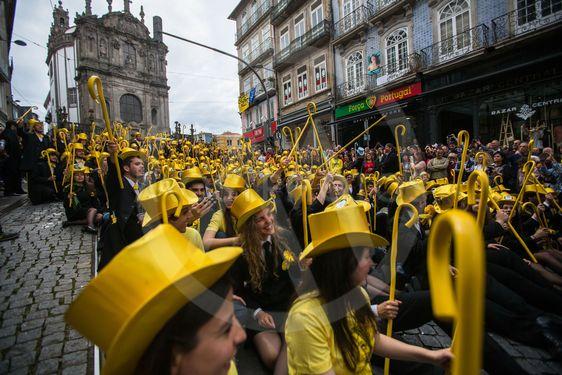 Participants of Queima Das Fitas Parade - traditional...