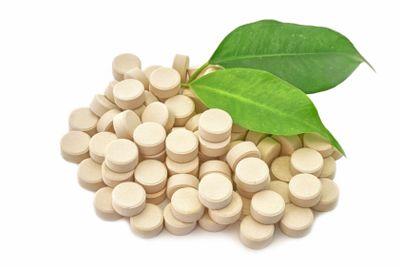 Tablets medicine bio natural on white background