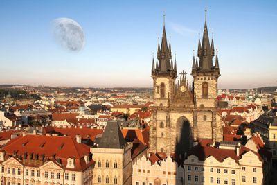 Moon over the Teyn Church in Prague