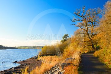 Beautiful landscape. Autumn pathway at the river Co.Cork,...