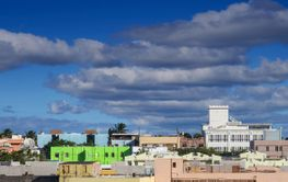 Green Building in Colorful Puerto Rico Cityscape