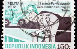 Postage stamp Indonesia 1992 construction worker