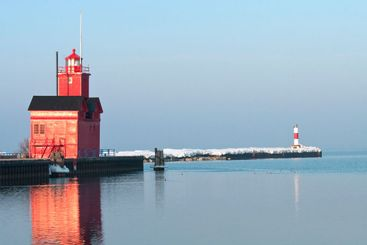 Lake Michigan LIghthouse and Channel Marker in Morning...