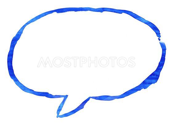 Blue ellipse speech bubble icon with watercolor paint...