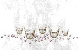 Hand Drawn of Single Espresso Coffee in Shot Glasses