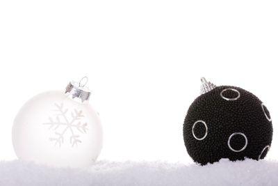 black and white christmas ball