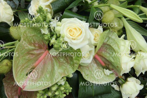 Green white floral arrangement