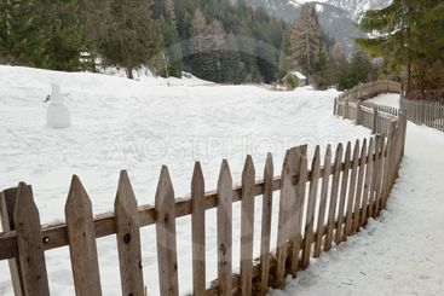 winter landscape fence