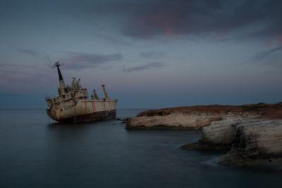 Abandoned Ship on a rocky coast