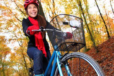Biking in autumn forest