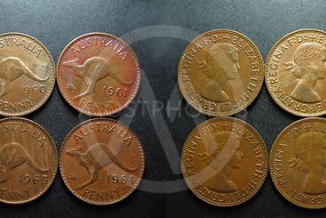 Coins Vintage Copper Australian Penny.