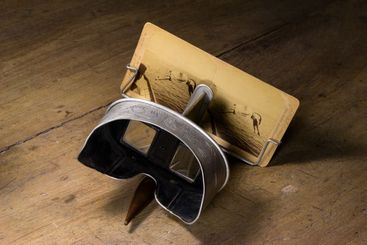 OLD STEREOSCOPE VIEWER FOR VIEWING 3D RELIEF PHOTOS