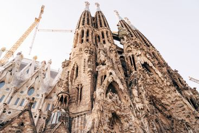 The facade of the Christmas Sagrada Familia in Barcelona.