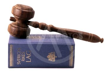 Old gavel and Swedish law book
