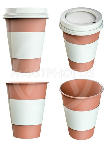Blank paper coffee cup set