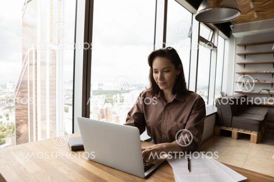 Successful businesswoman work on laptop in modern office