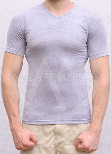 T-shirt cotton on a Young Man Template Athletic body...