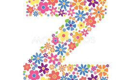Letter Z shape filled with flowers