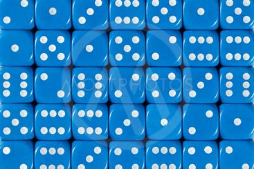 Background pattern of blue dices, random ordered