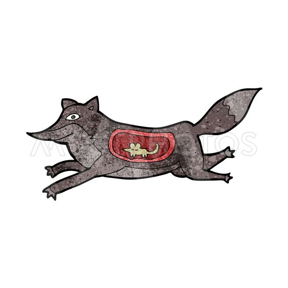 cartoon wolf with mouse in belly