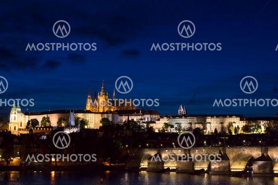 Pargue at dusk, view of the Charles Bridge and Prague...