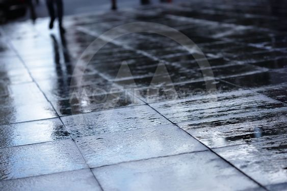 Silhouettes on wet road tiles