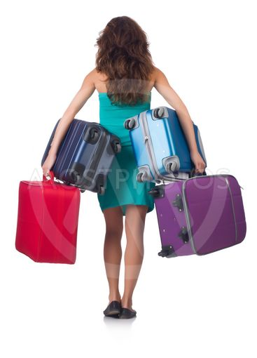 Woman preparing for vacation with suitcases isolated  on...