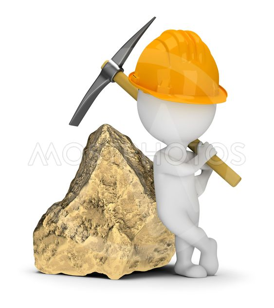 3d small people - miner next to a big gold nugget