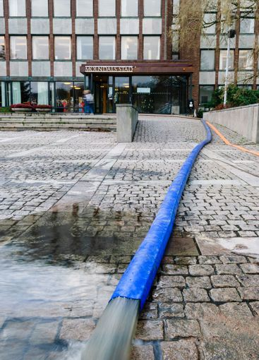 Pipe used for pumping water from building after flood