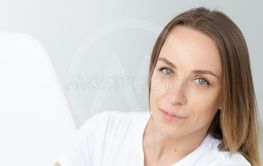 Close-up portrait of a beautiful caucasian young woman...