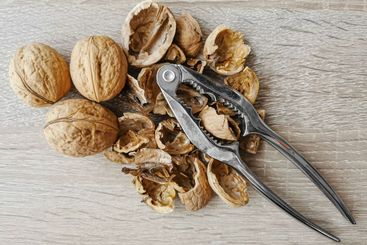 Three whole walnuts, nutshell and nutcracker