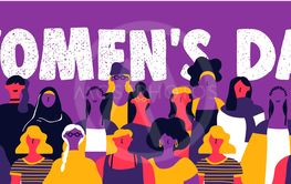 Womens Day web banner of diverse woman team
