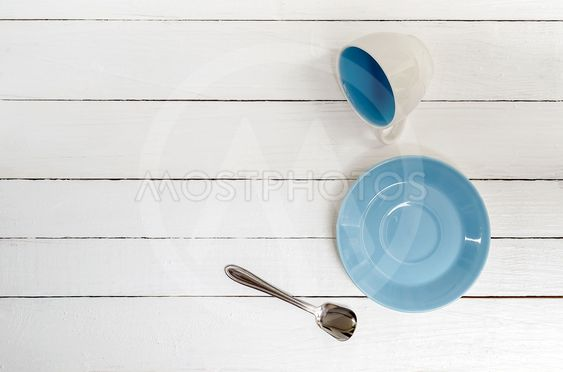 Empty Cup, saucer and spoon