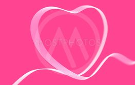 Valentine's day greeting card: white heart ribbon on...
