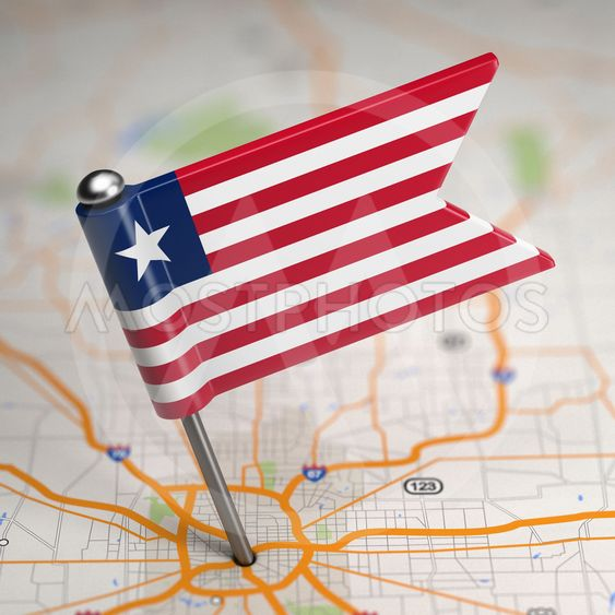 Liberia Small Flag on a Map Background.