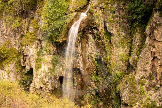 Honey waterfalls and caucasus mountains of North Caucas