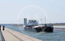 A ship on the trough bridge in Hohenwarthe