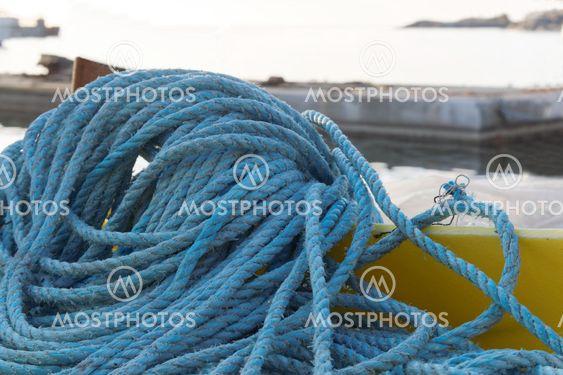 Blue nylon rope in the harbor