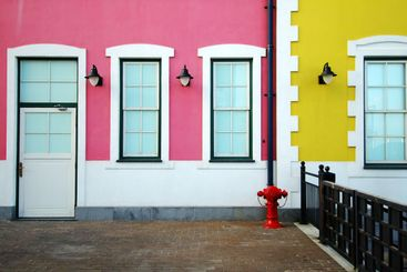 Colorful houses' wall