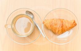 Hot Coffee and croissant in the morning time