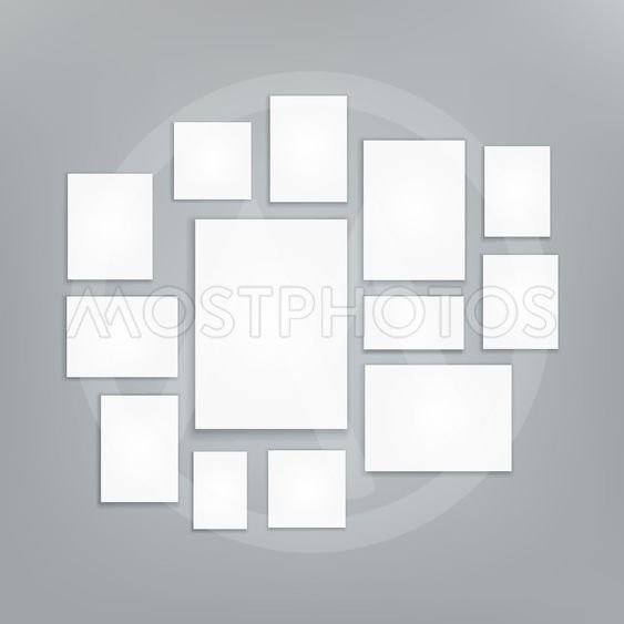 Blank white 3d Paper Canvas Vector. Posters Mock ups....