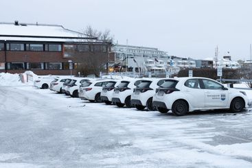 White Social services cars parked